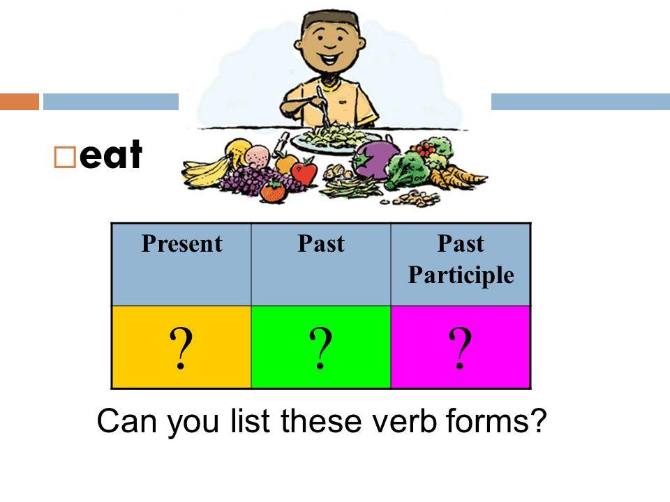 eat Can you list these verb forms? PresentPastPast Participle ???