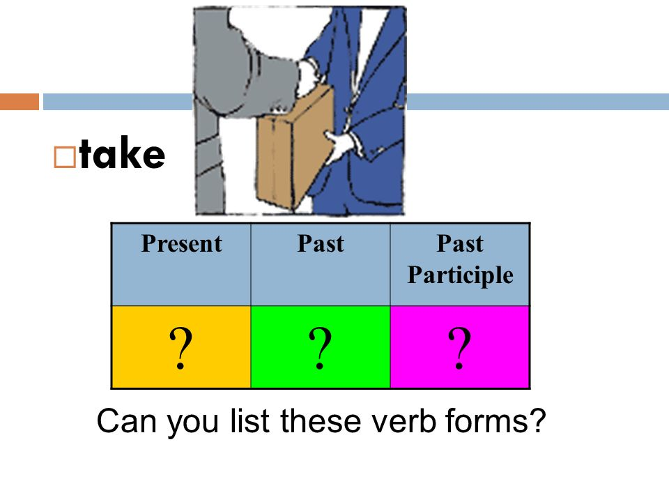  take Can you list these verb forms? PresentPastPast Participle ???