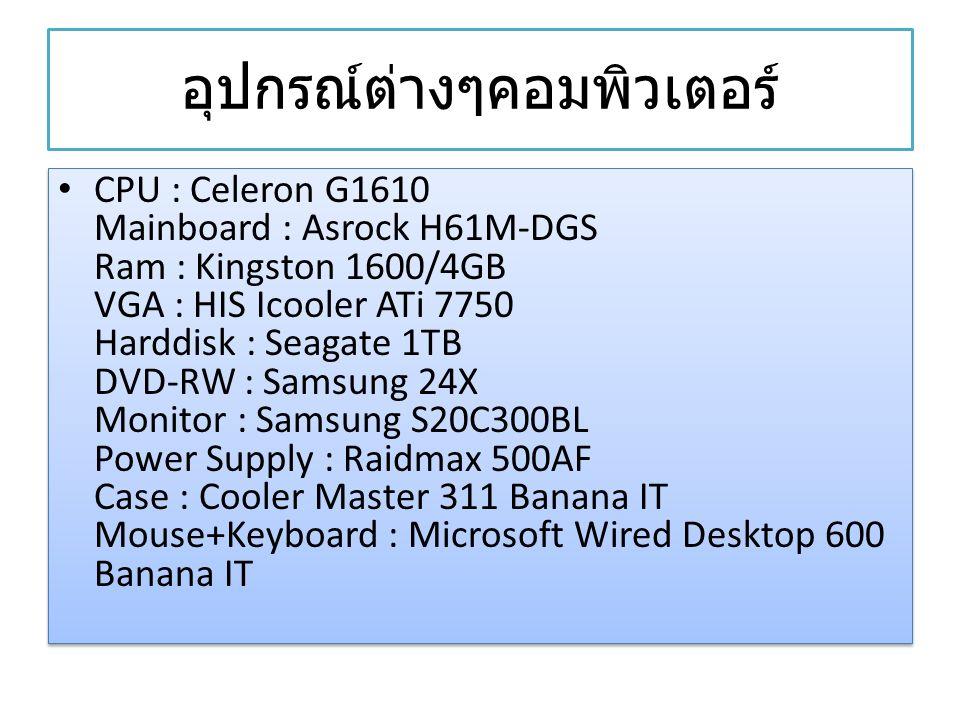 อุปกรณ์ต่างๆคอมพิวเตอร์ CPU : Celeron G1610 Mainboard : Asrock H61M-DGS Ram : Kingston 1600/4GB VGA : HIS Icooler ATi 7750 Harddisk : Seagate 1TB DVD-RW : Samsung 24X Monitor : Samsung S20C300BL Power Supply : Raidmax 500AF Case : Cooler Master 311 Banana IT Mouse+Keyboard : Microsoft Wired Desktop 600 Banana IT