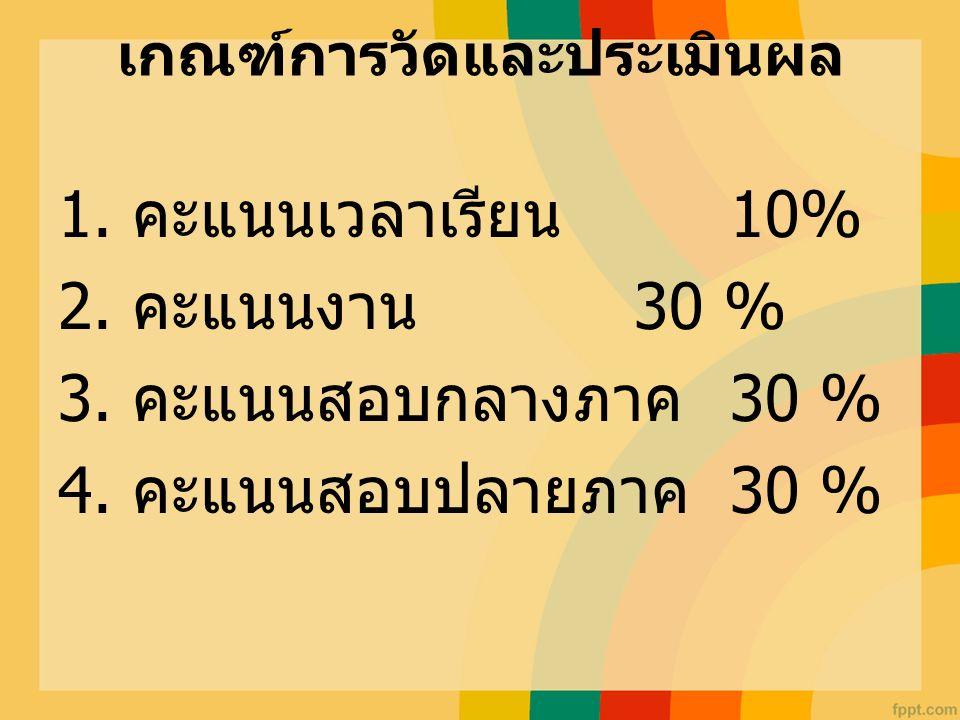เกณฑ์การวัดและประเมินผล 1. คะแนนเวลาเรียน 10% 2. คะแนนงาน 30 % 3. คะแนนสอบกลางภาค 30 % 4. คะแนนสอบปลายภาค 30 %