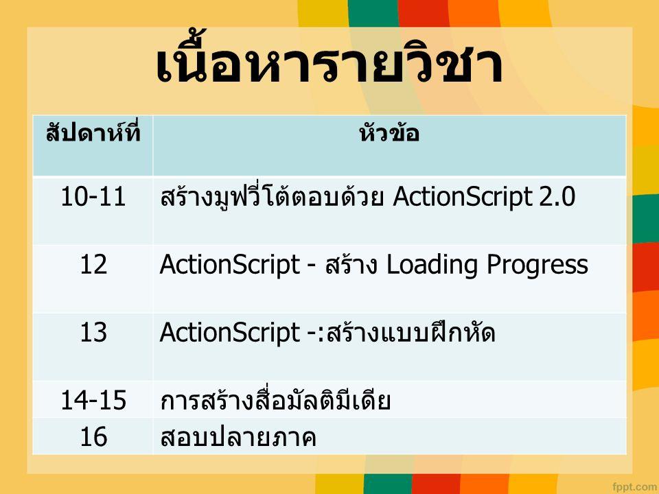เนื้อหารายวิชา สัปดาห์ที่หัวข้อ 10-11 สร้างมูฟวี่โต้ตอบด้วย ActionScript 2.0 12 ActionScript - สร้าง Loading Progress 13 ActionScript -: สร้างแบบฝึกหั