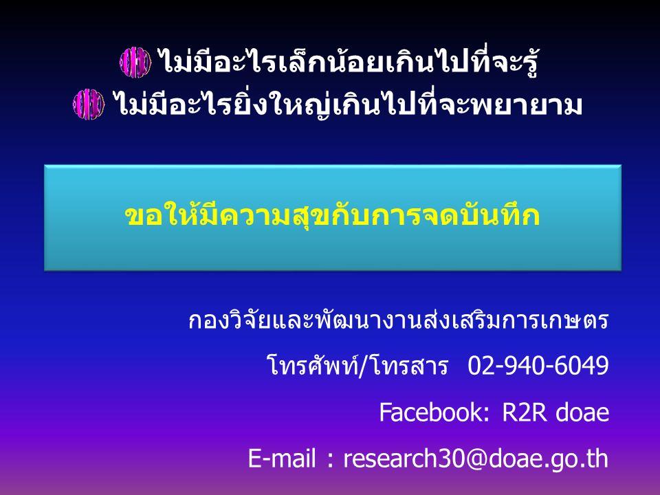 ไม่มีอะไรเล็กน้อยเกินไปที่จะรู้ ไม่มีอะไรยิ่งใหญ่เกินไปที่จะพยายาม ขอให้มีความสุขกับการจดบันทึก กองวิจัยและพัฒนางานส่งเสริมการเกษตร โทรศัพท์/โทรสาร 02-940-6049 Facebook: R2R doae E-mail : research30@doae.go.th