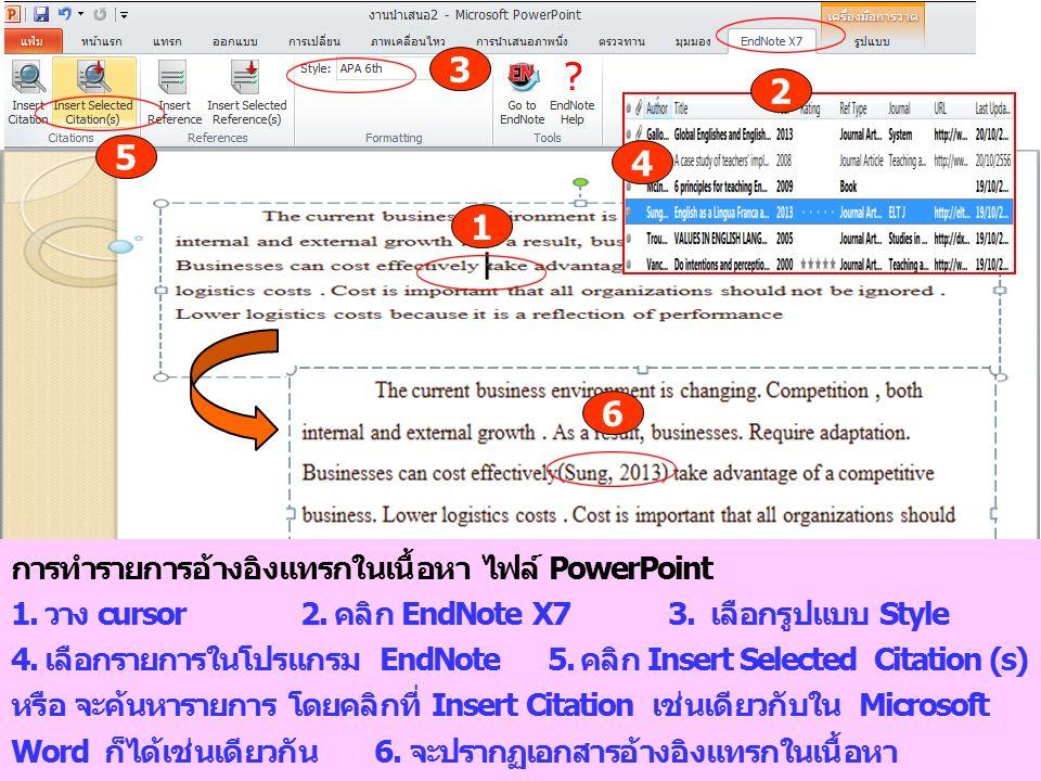 2 4 3 1 การทำรายการอ้างอิงแทรกในเนื้อหา ไฟล์ PowerPoint 1. วาง cursor 2. คลิก EndNote X7 3. เลือกรูปแบบ Style 4. เลือกรายการในโปรแกรม EndNote 5. คลิก