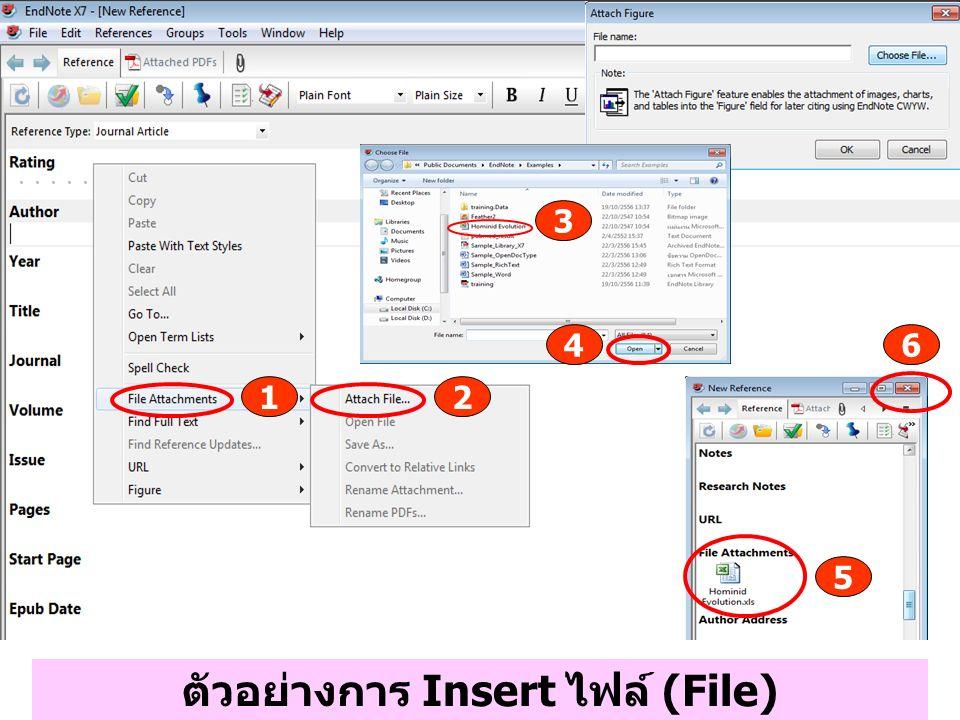 ตัวอย่างการ Insert ไฟล์ (File) 1 4 3 2 6 5