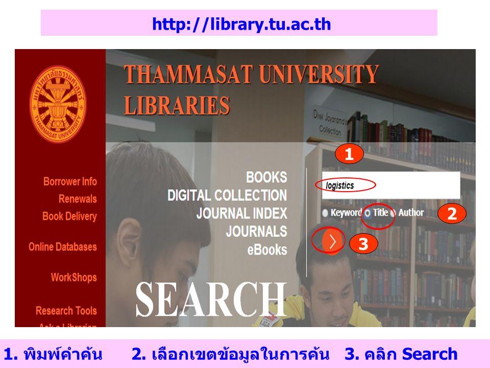 http://library.tu.ac.th 1. พิมพ์คำค้น 2. เลือกเขตข้อมูลในการค้น 3. คลิก Search 1 2 3