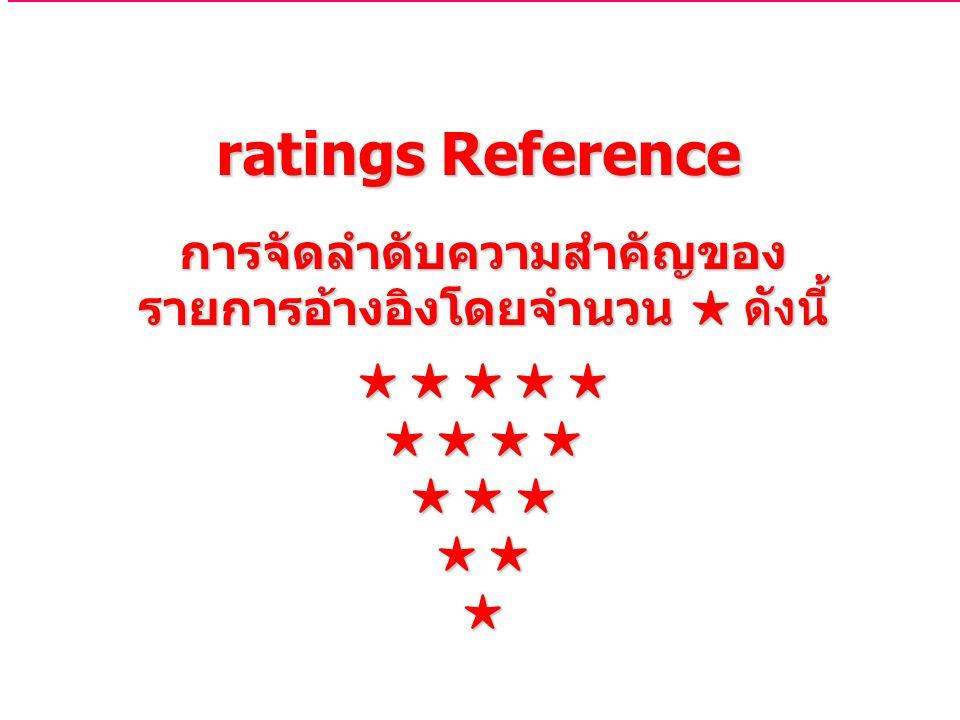 ratings Reference การจัดลำดับความสำคัญของ รายการอ้างอิงโดยจำนวน ★ ดังนี้ ★ ★ ★ ★ ★ ★ ★ ★ ★ ★ ★ ★ ★ ★ ★