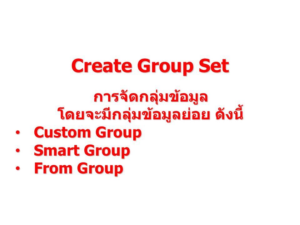 Create Group Set การจัดกลุ่มข้อมูล โดยจะมีกลุ่มข้อมูลย่อย ดังนี้ Custom Group Custom Group Smart Group Smart Group From Group From Group