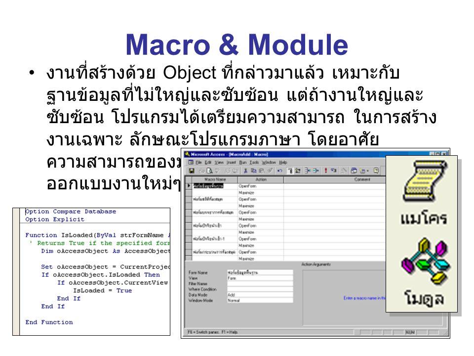 Macro & Module งานที่สร้างด้วย Object ที่กล่าวมาแล้ว เหมาะกับ ฐานข้อมูลที่ไม่ใหญ่และซับซ้อน แต่ถ้างานใหญ่และ ซับซ้อน โปรแกรมได้เตรียมความสามารถ ในการสร้าง งานเฉพาะ ลักษณะโปรแกรมภาษา โดยอาศัย ความสามารถของมาโครและโมดูล ซึ่งผู้ใช้สามารถ ออกแบบงานใหม่ๆ ได้ตามต้องการ