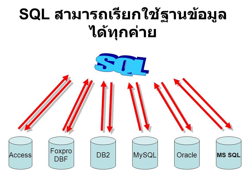 SQL สามารถเรียกใช้ฐานข้อมูล ได้ทุกค่าย Access MySQL Foxpro DBF DB2Oracle MS SQL