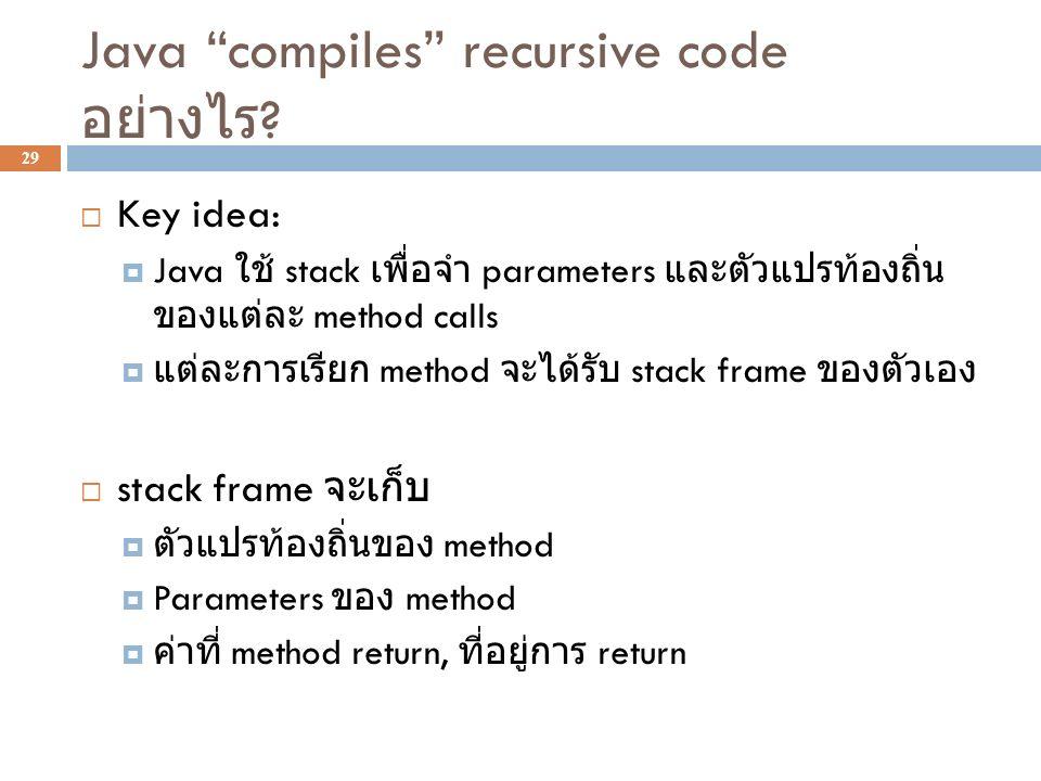 "Java ""compiles"" recursive code อย่างไร ? 29  Key idea:  Java ใช้ stack เพื่อจำ parameters และตัวแปรท้องถิ่น ของแต่ละ method calls  แต่ละการเรียก me"