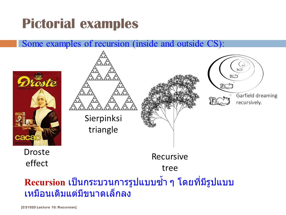 Pictorial examples 4 Droste effect Sierpinksi triangle Some examples of recursion (inside and outside CS): Garfield dreaming recursively.