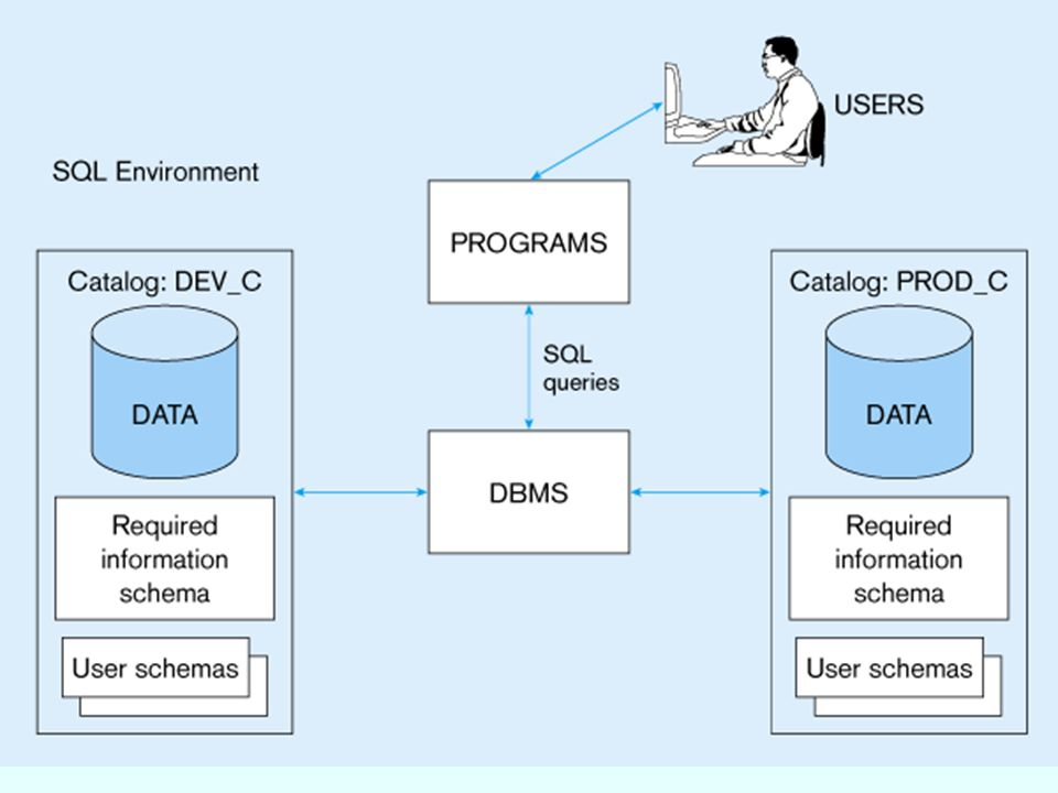 3 SQL Environment Catalog  ชุดของแผนผังที่เป็นคำอธิบายของฐานข้อมูล Schema  โครงสร้างที่มีรายละเอียดของวัตถุที่สร้างขึ้นโดยผู้ใช้ ( เช่น ตาราง วิว และ ข้อจำกัด (constraints) ) Data Definition Language (DDL)  คำสั่งที่กำหนดฐานข้อมูล : เช่น การสร้าง การเปลี่ยนแปลง การลบ ฐานข้อมูล เป็นต้น Data Manipulation Language (DML)  คำสั่งที่ใช้เพื่อจัดการและเรียกใช้ข้อมูลจากฐานข้อมูล  Commands that maintain and query a database Data Control Language (DCL)  คำสั่งต่างๆ ที่ใช้ควบคุมฐานข้อมูล เช่น commit การกำหนดสิทธฺ เป็นต้น
