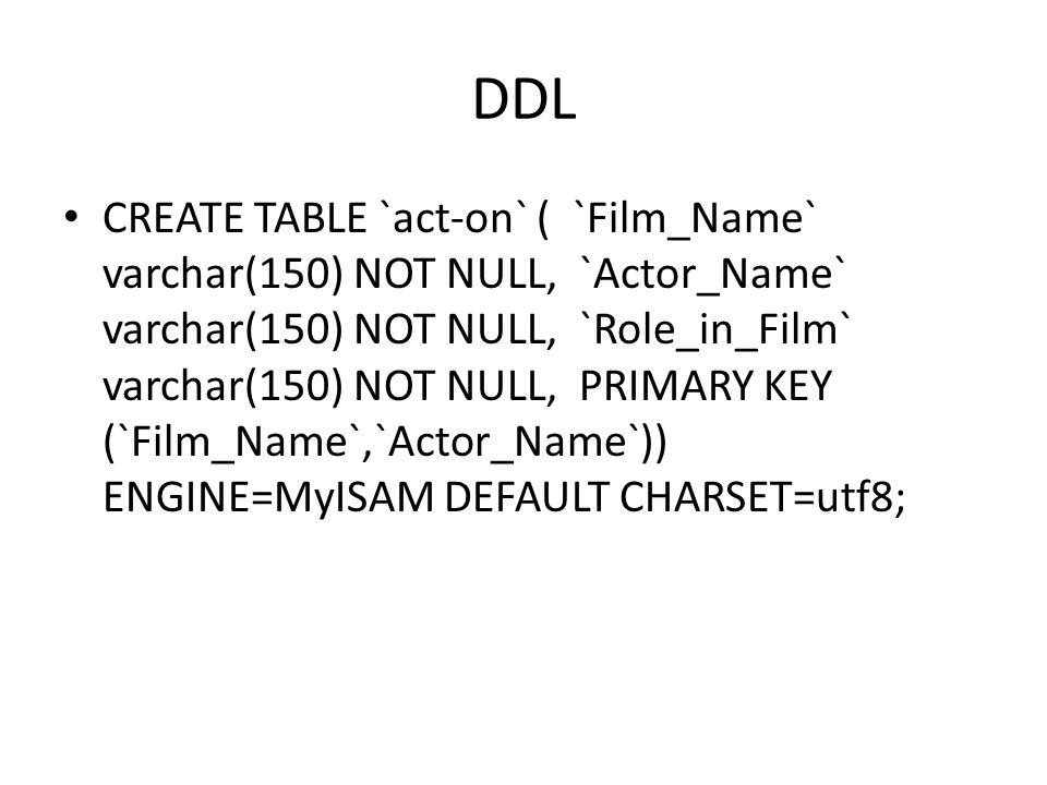 DDL CREATE TABLE `act-on` ( `Film_Name` varchar(150) NOT NULL, `Actor_Name` varchar(150) NOT NULL, `Role_in_Film` varchar(150) NOT NULL, PRIMARY KEY (
