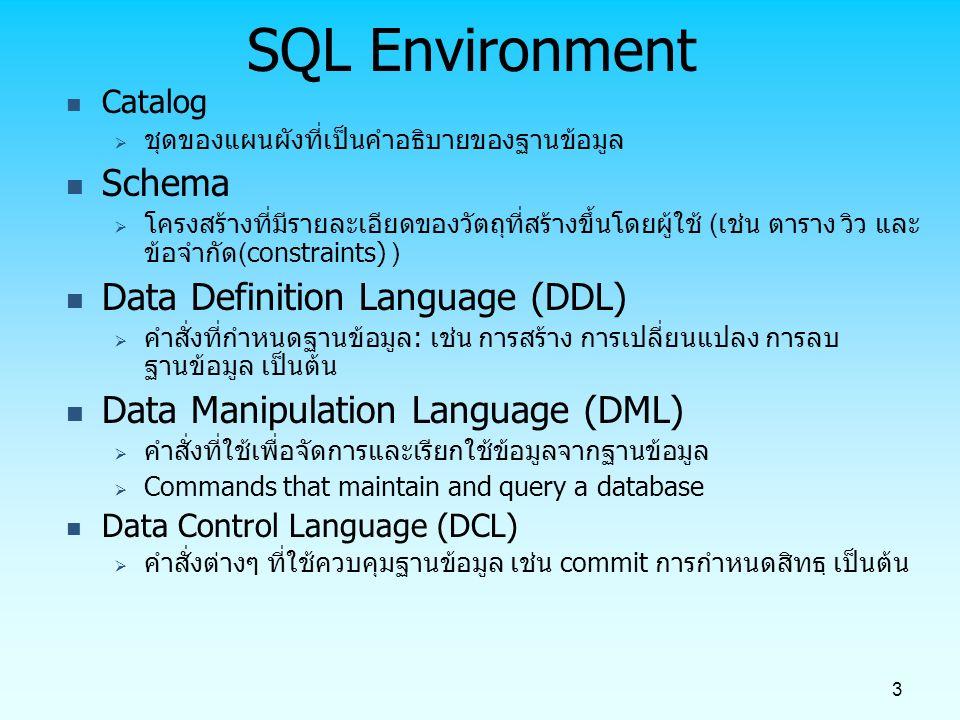 4 SQL Data types (from Oracle 9i) String types  CHAR(n) – ข้อมูลตัวอักษรที่กำหนดขนาดแน่นอน (fixed-length character data), n มีค่า 0-255 bytes  VARCHAR2(n) – ข้อมูลตัวอักษรขนาดความยาวแปรเปลี่ยนได้ (variable length character data), n มีค่า 0-65535 bytes  LONG – ข้อมูลตัวอักษรขนาดความยาวแปรเปลี่ยนได้ (variable-length character data), up to 4GB.