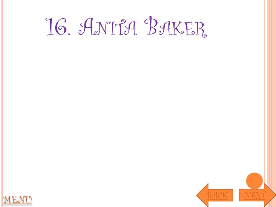 16. A NITA B AKER MENU NEXT BACK