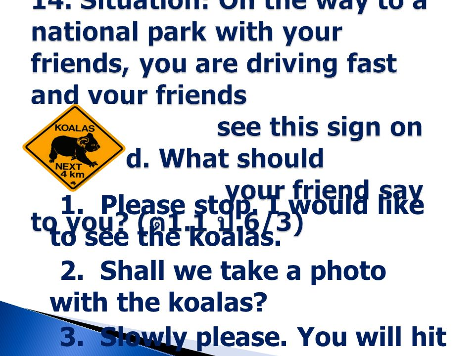 1. Please stop. I would like to see the koalas. 2. Shall we take a photo with the koalas? 3. Slowly please. You will hit the koalas. 4. Look! The koal