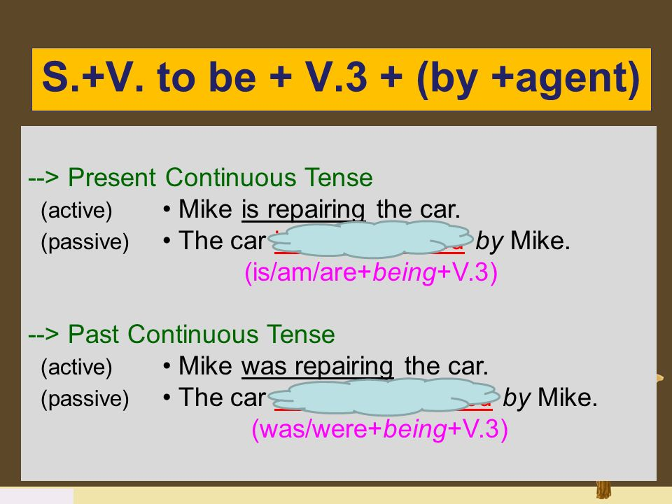 S.+V. to be + V.3 + (by +agent) --> Present Continuous Tense (active) Mike is repairing the car. (passive) The car is being repaired by Mike. (is/am/a