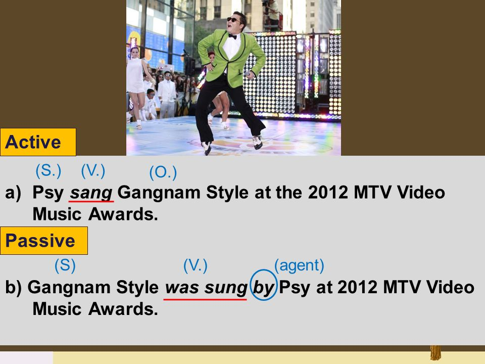 a)Psy sang Gangnam Style at the 2012 MTV Video Music Awards. b) Gangnam Style was sung by Psy at 2012 MTV Video Music Awards. (S.) (S) (O.) (agent) (V