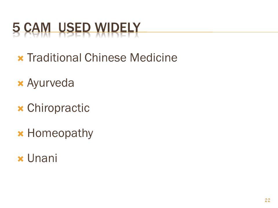  Traditional Chinese Medicine  Ayurveda  Chiropractic  Homeopathy  Unani 22