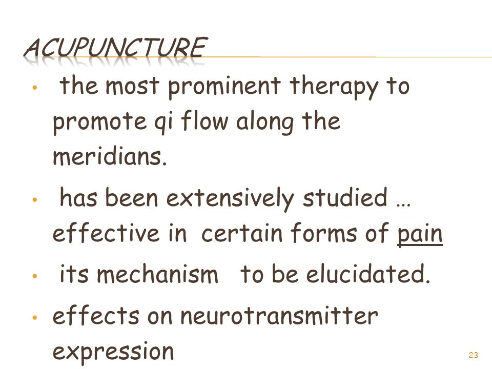 the most prominent therapy to promote qi flow along the meridians.