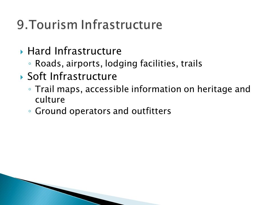  Hard Infrastructure ◦ Roads, airports, lodging facilities, trails  Soft Infrastructure ◦ Trail maps, accessible information on heritage and culture ◦ Ground operators and outfitters