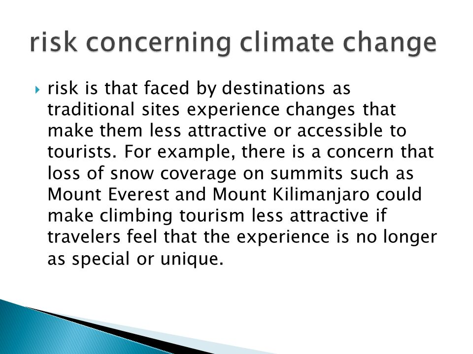  risk is that faced by destinations as traditional sites experience changes that make them less attractive or accessible to tourists.
