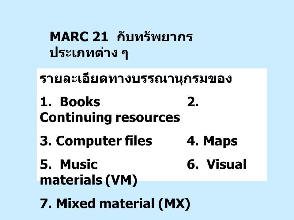 รายละเอียดทางบรรณานุกรมของ 1. Books 2. Continuing resources 3. Computer files4. Maps 5. Music 6. Visual materials (VM) 7. Mixed material (MX) MARC 21