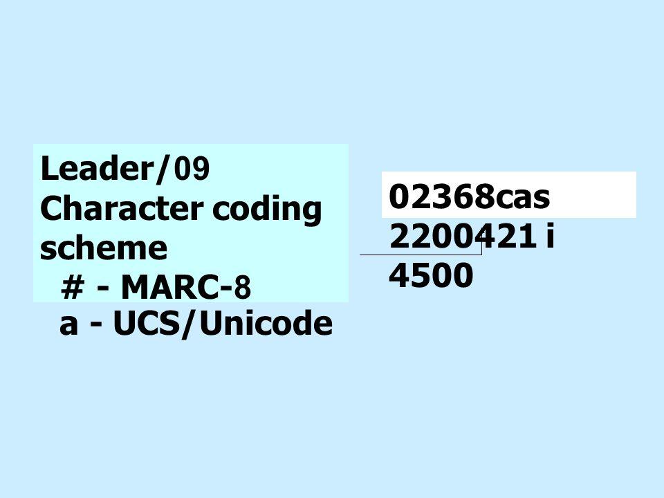 Leader/09 Character coding scheme # - MARC-8 a - UCS/Unicode 02368cas 2200421 i 4500