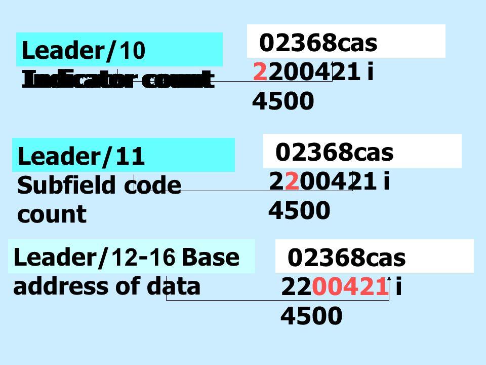 Leader/10 Indicator count Leader/12-16 Base address of data Leader/11 Subfield code count Leader/10 Indicator count 02368cas 2200421 i 4500 Leader/10