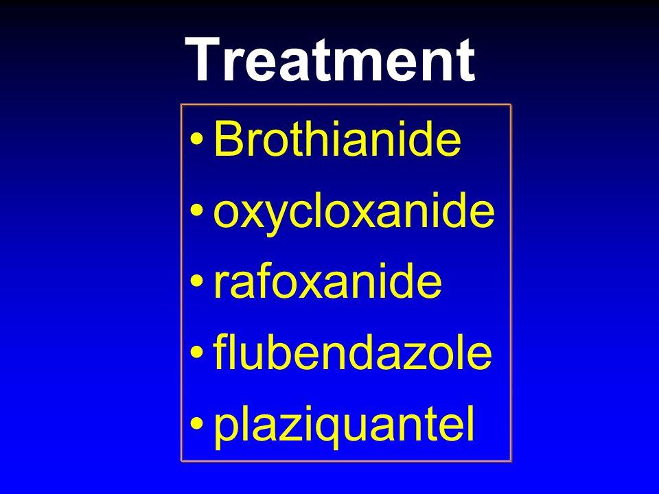 Treatment Brothianide oxycloxanide rafoxanide flubendazole plaziquantel