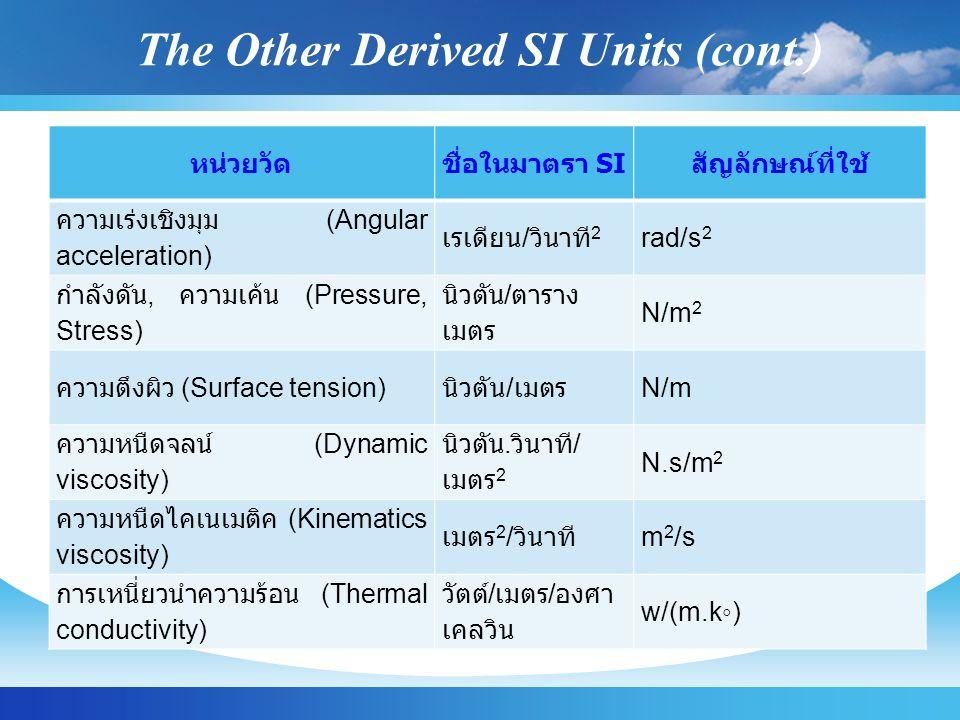 The Other Derived SI Units (cont.) หน่วยวัดชื่อในมาตรา SI สัญลักษณ์ที่ใช้ ความเร่งเชิงมุม (Angular acceleration) เรเดียน / วินาที 2 rad/s 2 กำลังดัน, ความเค้น (Pressure, Stress) นิวตัน / ตาราง เมตร N/m 2 ความตึงผิว (Surface tension) นิวตัน / เมตร N/m ความหนืดจลน์ (Dynamic viscosity) นิวตัน.