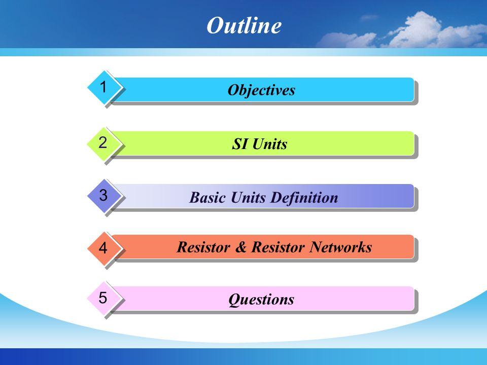 Objectives  เพื่อให้นิสิตมีความรู้ความเข้าใจเกี่ยวกับหน่วยวัด มาตรฐานทางไฟฟ้า  เพื่อให้นิสิตมีความรู้ความเข้าใจเกี่ยวกับนิยาม พื้นฐานทางไฟฟ้า เช่น ประจุ กระแสไฟฟ้า ความ ต่างศักย์ทางไฟฟ้า พลังงาน กำลังงาน และตัว ต้านทาน เป็นต้น  เพื่อให้นิสิตมีความรู้ความเข้าใจเกี่ยวกับการ เชื่อมต่อเครือข่ายความต้านทานในรูปแบบต่างๆ  เพื่อให้นิสิตสามารถอ่านค่าความต้านทานและ เลือกใช้งานตัวต้านทานได้อย่างถูกต้องเหมาะสม