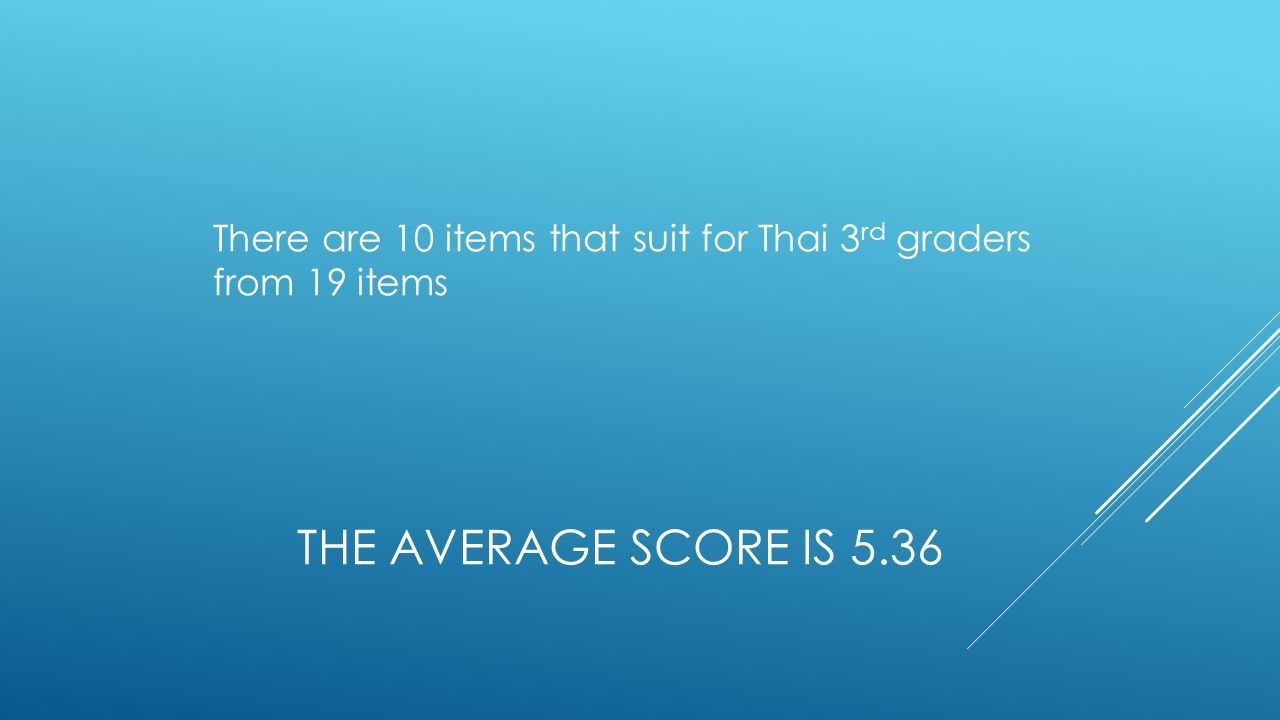 THE AVERAGE SCORE IS 5.36 There are 10 items that suit for Thai 3 rd graders from 19 items
