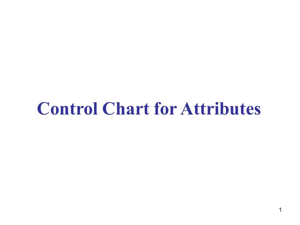 1 Control Chart for Attributes
