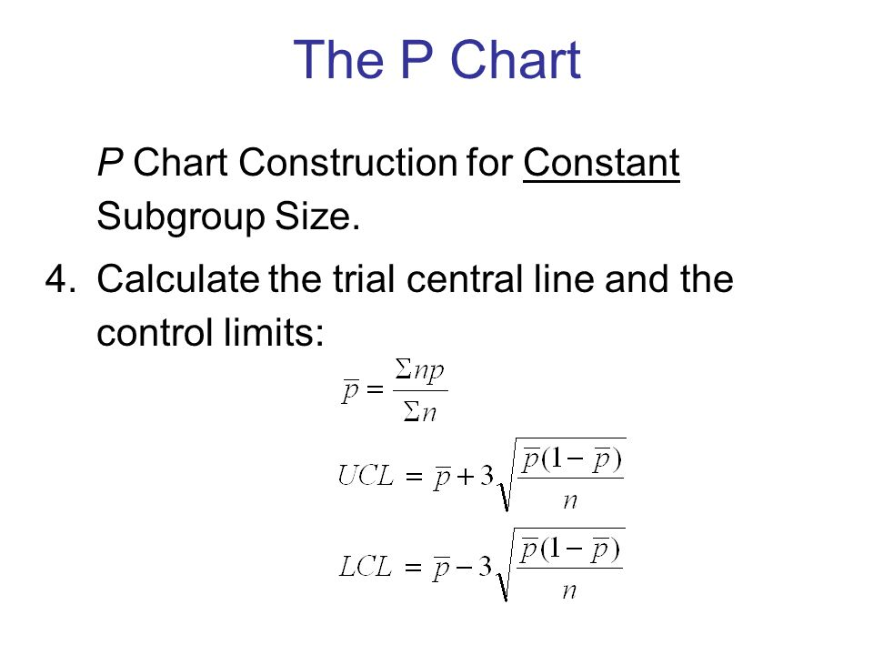 P Chart Construction for Constant Subgroup Size.
