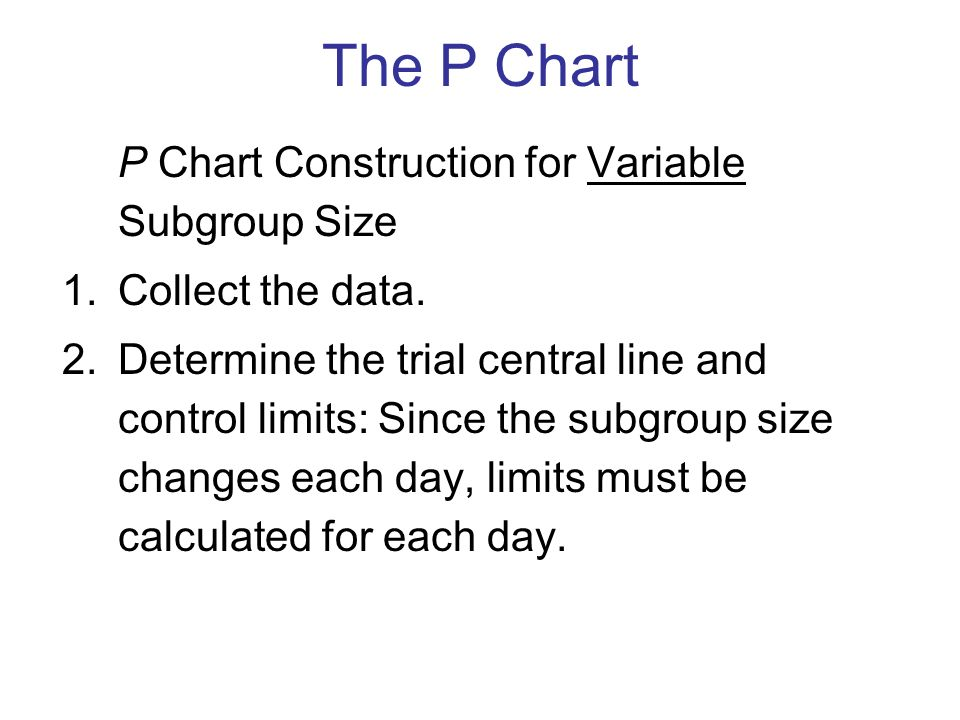 P Chart Construction for Variable Subgroup Size 1.Collect the data.