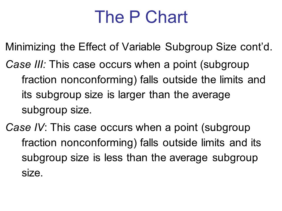 Minimizing the Effect of Variable Subgroup Size cont'd.