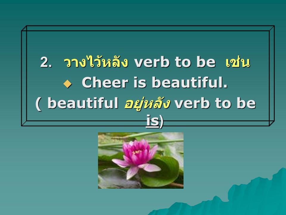 2. วางไว้หลัง verb to be เช่น  Cheer is beautiful. ( beautiful อยู่หลัง verb to be is)