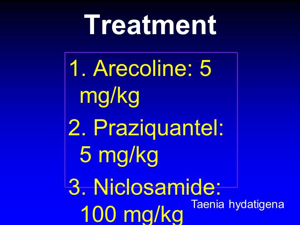 Treatment 1. Arecoline: 5 mg/kg 2. Praziquantel: 5 mg/kg 3. Niclosamide: 100 mg/kg 4. Bithionol: 200 mg/kg Taenia hydatigena