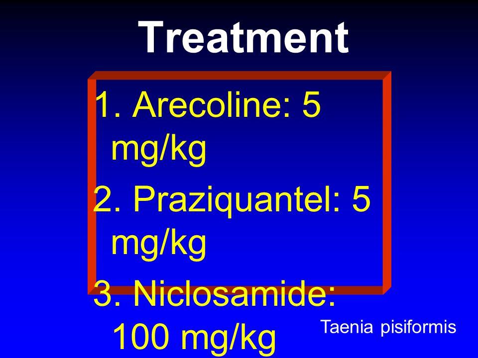 Treatment 1. Arecoline: 5 mg/kg 2. Praziquantel: 5 mg/kg 3. Niclosamide: 100 mg/kg 4. Bithionol: 200 mg/kg Taenia pisiformis