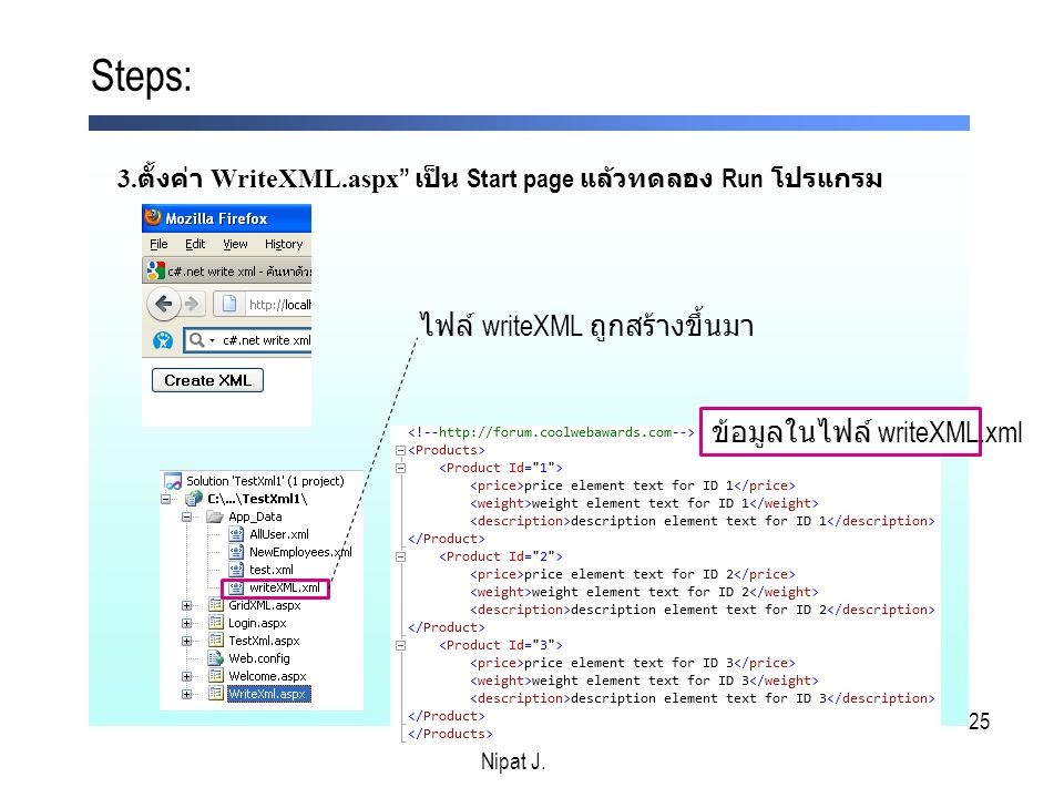 25 3. ตั้งค่า WriteXML.aspx เป็น Start page แล้วทดลอง Run โปรแกรม Steps: Nipat J.