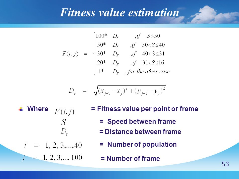 Fitness value estimation Where = Fitness value per point or frame = Speed between frame = Distance between frame = Number of population = Number of fr