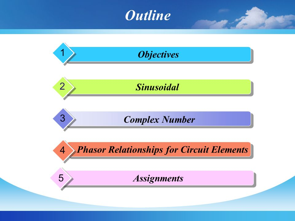 Outline Objectives 1 Sinusoidal 2 Complex Number 3 Phasor Relationships for Circuit Elements 4 Assignments 5