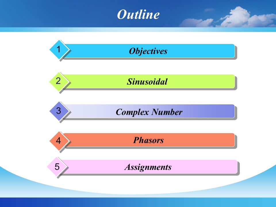 Outline Objectives 1 Sinusoidal 2 Complex Number 3 Phasors 4 Assignments 5