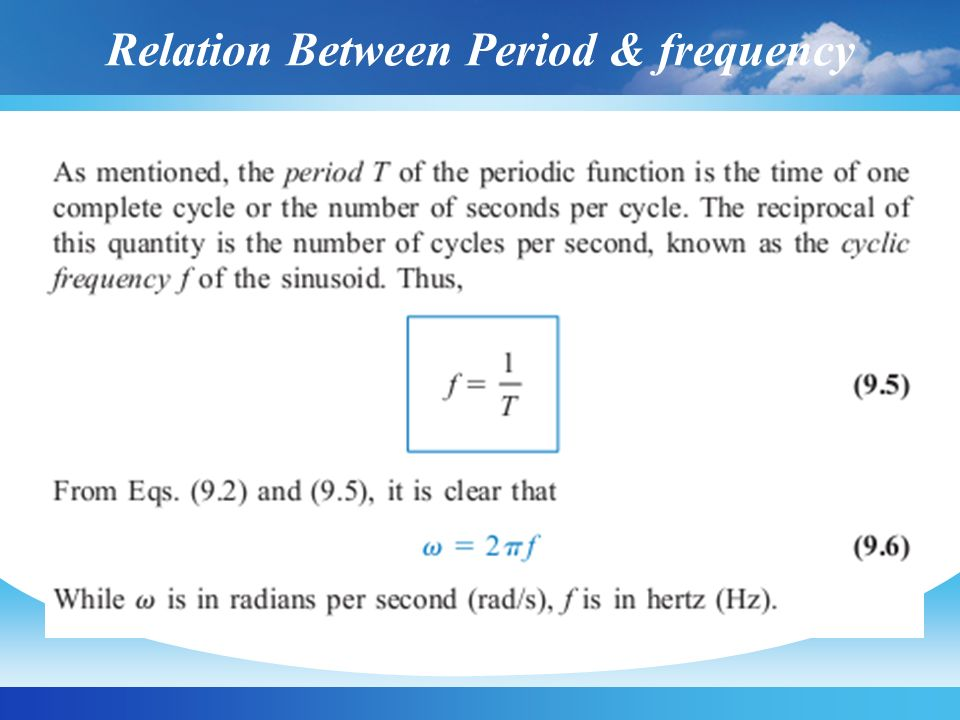 Relation Between Period & frequency