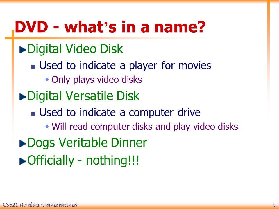 CS621 สถาปัตยกรรมคอมพิวเตอร์ 9 DVD - what ' s in a name.