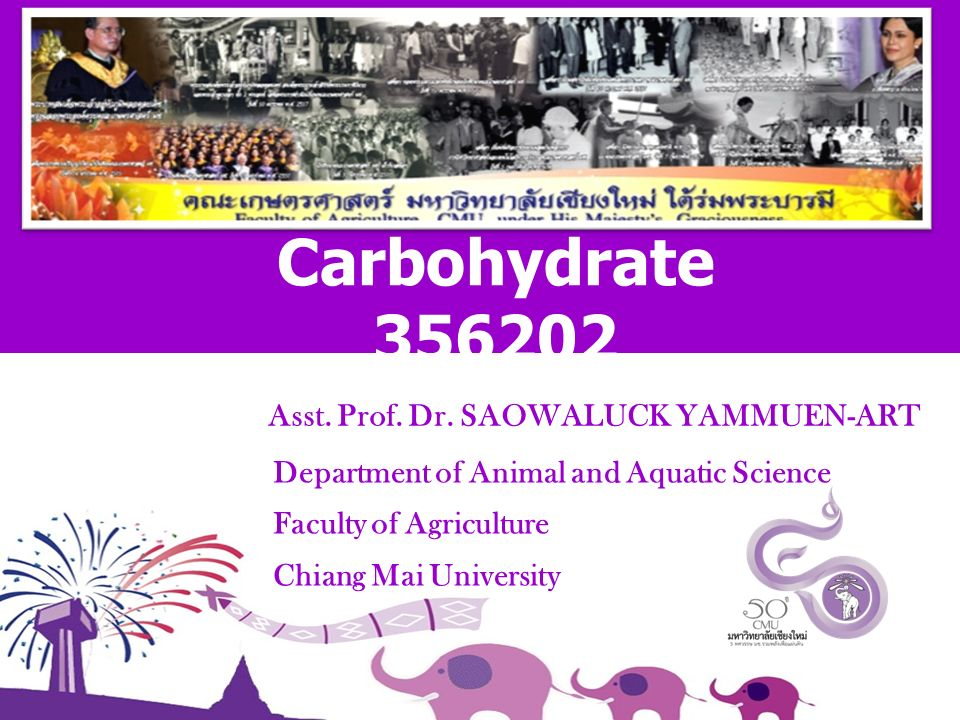 Asst. Prof. Dr. SAOWALUCK YAMMUEN-ART Department of Animal and Aquatic Science Faculty of Agriculture Chiang Mai University Carbohydrate 356202