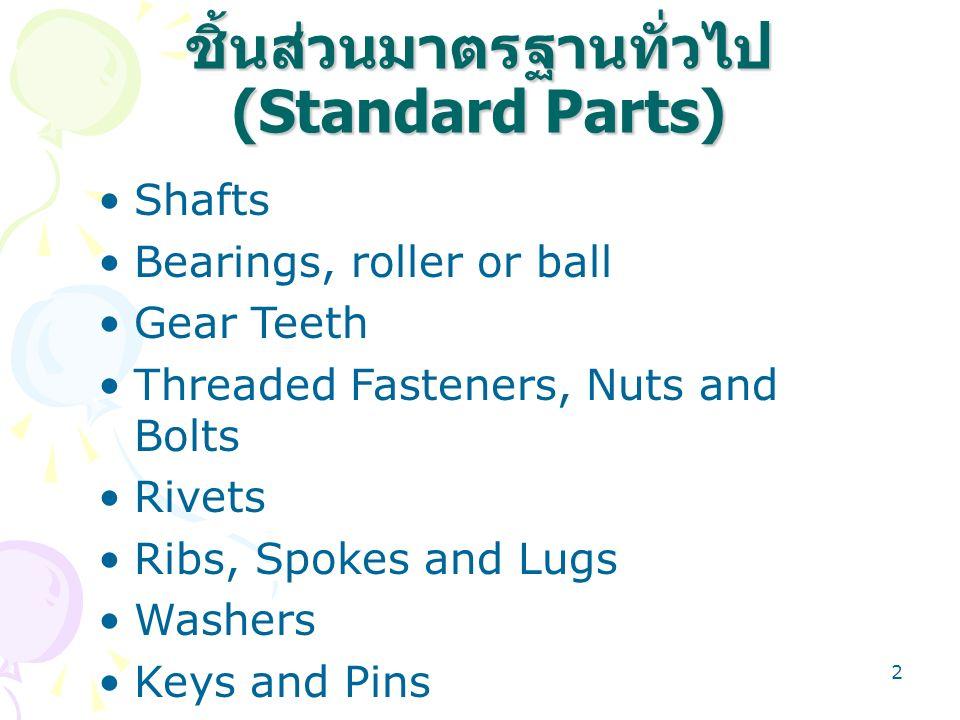 2 ชิ้นส่วนมาตรฐานทั่วไป (Standard Parts) Shafts Bearings, roller or ball Gear Teeth Threaded Fasteners, Nuts and Bolts Rivets Ribs, Spokes and Lugs Wa