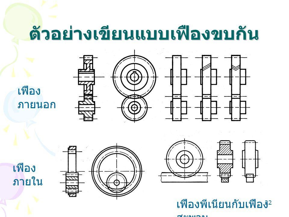 22 ตัวอย่างเขียนแบบเฟืองขบกัน เฟือง ภายนอก เฟือง ภายใน เฟืองพีเนียนกับเฟือง สะพาน