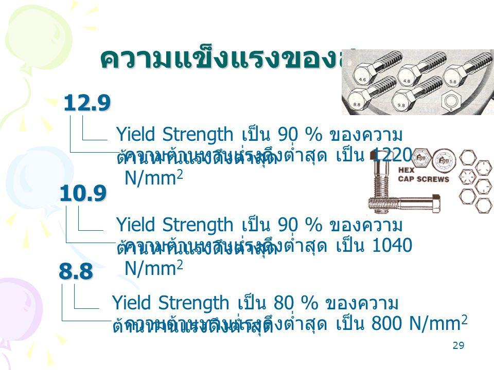 29 ความแข็งแรงของสกรู 12.9 10.9 8.8 Yield Strength เป็น 90 % ของความ ต้านทานแรงดึงต่ำสุด ความต้านทานแรงดึงต่ำสุด เป็น 1220 N/mm 2 ความต้านทานแรงดึงต่ำ